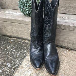 Dan Post Black Leather Cowboy Boots Size 7 1/2
